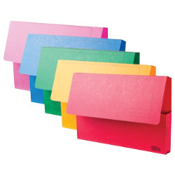 Office Depot Bright Manilla Document Wallets Heavy Weight Pressboard 285gsm Foolscap Assorted Pack of 10
