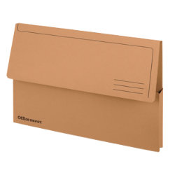 Office Depot Bright Manilla Document Wallets Heavy Weight Pressboard 285gsm Foolscap Buff Pack of 10