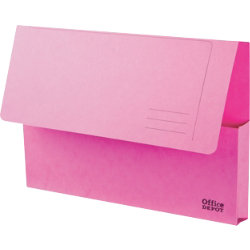 Office Depot Bright Manilla Document Wallets Heavy Weight Pressboard 285gsm Foolscap Pink Pack of 10
