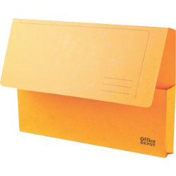 Office Depot Bright Manilla Document Wallets Heavy Weight Pressboard 285gsm Foolscap Yellow Pack of 10