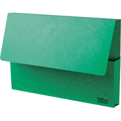 Office Depot Bright Manilla Document Wallets Heavy Weight Pressboard 285gsm Foolscap Green Pack of 10