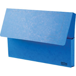 Office Depot Bright Manilla Document Wallets Heavy Weight Pressboard 285gsm Foolscap Blue Pack of 10
