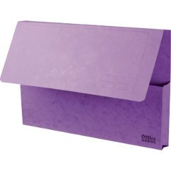 Office Depot Bright Manilla Document Wallets Heavy Weight Pressboard 285gsm Foolscap Purple Pack of 10