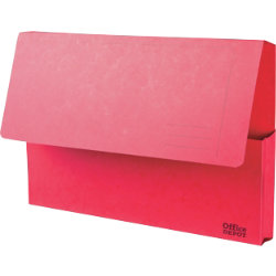 Office Depot Bright Manilla Document Wallets Heavy Weight Pressboard 285gsm Foolscap Red Pack of 10