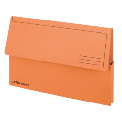 Office Depot Bright Manilla Document Wallets Heavy Weight Pressboard 285gsm Foolscap Orange Pack of 10