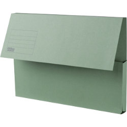 Office Depot Extra Capacity Manilla Document Wallets Heavy Weight Manilla 315gsm Foolscap Green Pack of 25
