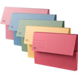 Office Depot Manilla Document Wallets Medium Weight Manilla 250gsm Foolscap Assorted Pack of 50