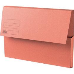 Office Depot Manilla Document Wallets Medium Weight Manilla 250gsm Foolscap Orange Pack of 50