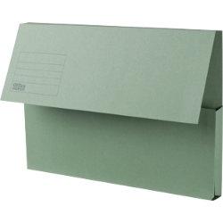 Office Depot Manilla Document Wallets Medium Weight Manilla 250gsm Foolscap Green Pack of 50
