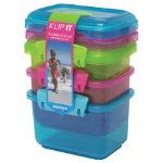 Sistema Pack of Three Food Containers Lime Pink Aqua 400ml