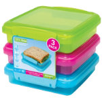 Sistema Pack of Three Sandwich Boxes 450ml
