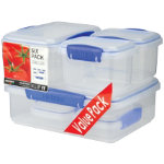 Sistema Pack of Six Rectangular Food Containers