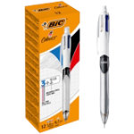 BIC Ballpoint Pen 4 Colours Grey Black Blue Red Grey Pack 12