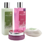 Starry Night 4 Piece Bath Set with Body Wash Body Lotion Bosy Scrub and Bath Soap
