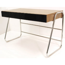 Juo home office desk walnut and black by viking - Viking office desk ...