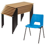 Harmony Chair and Crushbend Table Class Pack Beech Top Black Frame 1200 x 600 x 710mm Blue Shell Black Frame 430mm Height