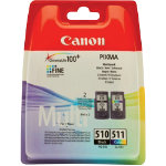 Canon PG 510 CL 511 Original Ink Cartridge Black 3 Colours Duopack