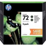 HP 72 Original Ink Cartridge P2V33A Matte Black Pack 2