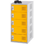 Incharge Locker 5 Socket 1 Door Yellow Grey