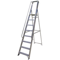 Lyte Ladders Industrial Aluminium Platform Stepladder with Handrails 8 Tread