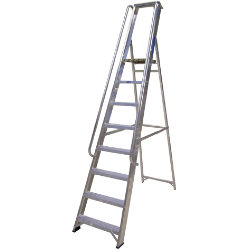Lyte Ladders Industrial Aluminium Platform Stepladder with Handrails 10 Tread