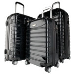 3 piece hardshell suitcase set black
