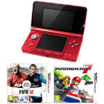 Nintendo 3DS Red WIth Mario Kart 7 & FIFA 12