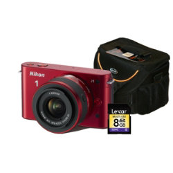 Nikon 1 J1 Compact System Digital Camera Kit - Red