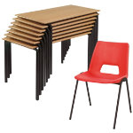 Harmony Chair and Crushbend Table Class Pack Beech Top Black Frame 1100 x 550 x 640mm Red Shell Black Frame 380mm Height
