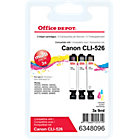 Office Depot Compatible for Canon CLI 526 3 Colours Ink Cartridge CLI 526CMY
