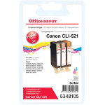 Office Depot Canon CLI 521CMY 3 Colour Inkjet Multipack