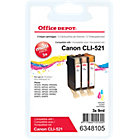 Office Depot Compatible Canon CLI 521C M Y Ink Cartridge 3 Colours 3 pieces