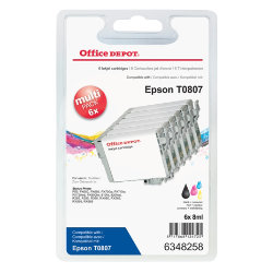 Office Depot Compatible for Epson T0807 Black & 5 Colours Ink Cartridge T0807