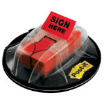 Post it Index Sign Here Value Pack in a Desk Grip Dispenser