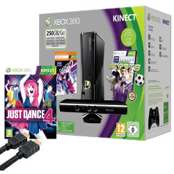 Xbox 360 250GB Console with Kinect Sensor + Just Dance 4 + HDMI Cable