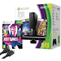 Xbox 360 4GB Console + Kinect Sensor and Disneyland Adventures + Just Dance 4 + HDMI Cable