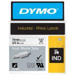 Dymo Rhino Labels Black on White 19mm x 15m Heat Shrink Tubing