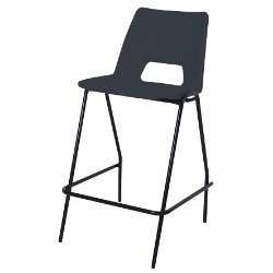 4 x Advanced Heavy Duty Industrial Stool with backrest Black Shell Black Frame 610mm Height