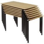 4 X Rectangular Stacking Crushbend Tables Beech Top Black Frame 1100 x 550 x 640mm