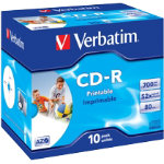 Verbatim CD R 700MB 52X White Inkjet Printable Jewelcase Pack 10
