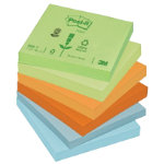 Post it Pastel Rainbow Recycled Notes  76mm x 76mm 12 pads per pack