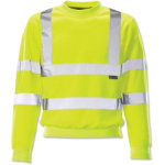 Yellow long sleeved hi vis sweatshirt medium