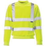 Yellow long sleeved hi vis sweatshirt large