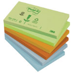 Post it Pastel Rainbow Recycled Notes  76mm x 127mm 12 pads per pack