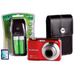 Fuji FinePix AX650 Red Camera Kit inc 4GB SD Case 4xAA Batteries Charger