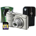 Nikon Coolpix L28 Silver Camera Kit inc 4x AA Batteries Charger Case 4GB SD