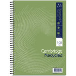 Cambridge recycled wirebound notebooks ruled and margin A4 5 pk