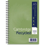Cambridge A5 wirebound notebook 100 pages 70gsm pack of 5