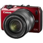 Canon EOS M Red SLR Camera  EF M 18 55mm Lens