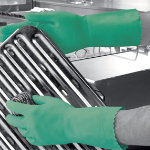 Polyco Optima mediumweight flock lined rubber glove green extra small